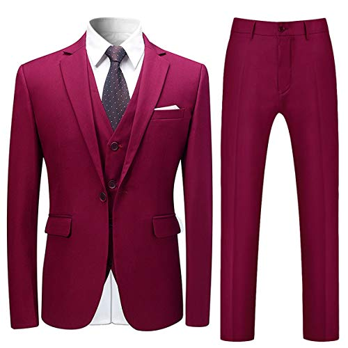 Costume Homme 3 Pcs Costard Blazer Veste et Pantalon Gilet Mariage Party Smoking, Vin Rouge, XXL