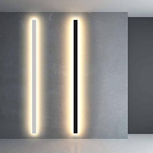 moderna LED Aplique de Pared Interior esquina Lámpara de pared 24W aluminio acrílico Blanco Cálido 3000K Negro para Salon Dormitorio Sala Pasillo Escalera iluminación de pared AC 220V (blanco,120CM)