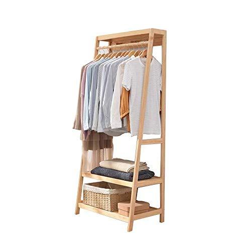 Houten kapstok, kledingrek, hangende kledingstang, rail, bovenrek, schoenen, hoeden, sjaals, organizer, rek, entree, slaapkamer, organizer 54X41X150CM A