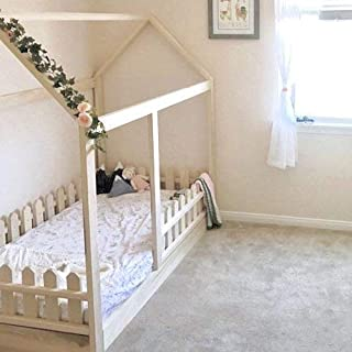 Twin Size House Bed with Picket Fence Railings
