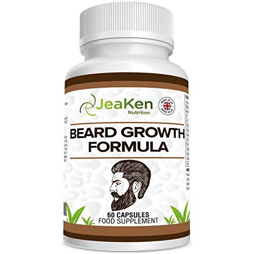 CRECIMIENTO BARBA CÁPSULAS - Vitaminas para el Cabello y Barba - Crece Barba y Crecimiento Cabello de la Manera Natural- Mezcla Superior de Vitaminas y Minerales con Biotina-60 Cápsulas Vegetarianas