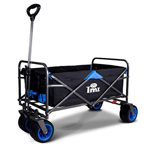 TMZ All-Terrain Breiter Räder Handwagen, Faltbarer Bollerwagen mit FußBremse, Integrierte Vorderradlenkung Klappwagen Transportwagen, Klappbar Gardenwagen, 92.5 L, bis 120kg