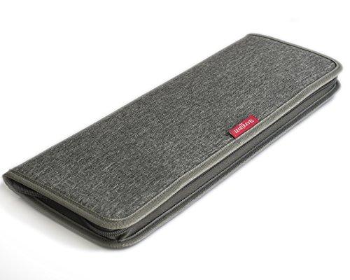 LeanTravel Premium Tie Case Organizer für die Reise mit Aufbewahrungstasche für Manschettenknöpfe und kleine Accessoires