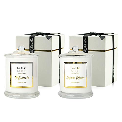 Scented Candles Pack 2 Plumeria and Jasmine, 20 Ounce, Natural Soy Wax, Holiday Candle Gifts for Women