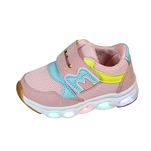 Why Choose VEKDONE Kids Fashion Sneakers Boys Girls Novelty LED Light-Up Tennis Shoes Lightweight Mesh Breathable Running Shoes(Pink,2-2.5Years)