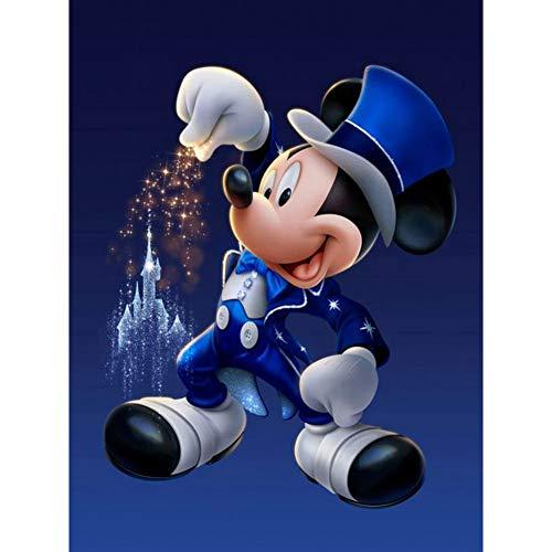 5D DIY diamante pintura dibujos animados Mickey Mouse diamante punto de cruz, mosaico redondo diamante hecho a mano regalo decoración del hogar(11.8x15.8inch)