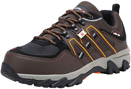 LARNMERN Steel Toe Shoes Men, Safety Work Reflective Strip Puncture Proof Footwear Industrial & Construction Shoe (10, Brown)