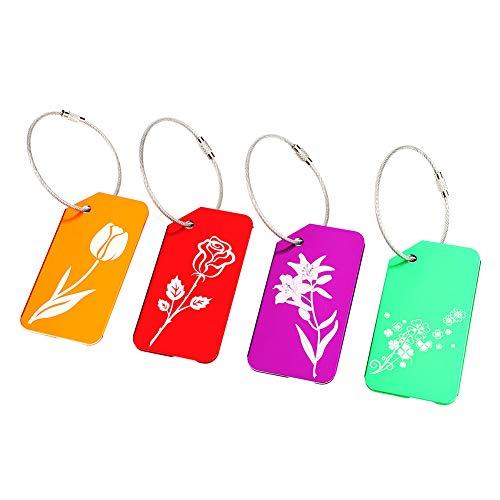 Etiqueta de Bolsa de Viaje, Metal de aleación de Aluminio con Etiqueta de Equipaje(Flower Series)