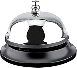 MROCO Big Call Bells, 3.38 Inch Diameter, Chrome Finish, All-Metal Construction, Desk Bell Service Bell for Hotels, Schools, Restaurants, Reception Areas, Hospitals, Warehouses (Silver)