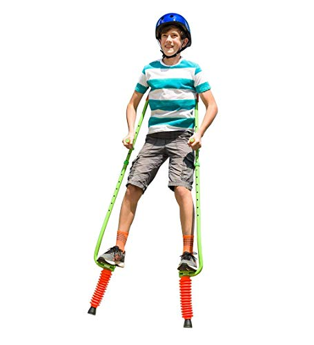HearthSong Jump2It Adjustable Bouncy Pogo Stilts for Kids with Foam-Covered Handles, Ergonomically-Designed Armrests, Treaded Footrests, and Protective Collar Around Spring, Supports up to 250 lbs.
