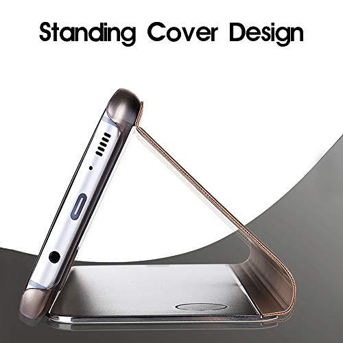 ompatibel mit Huawei Honor 10 Hülle, Handy Schutzhülle für Huawei Honor 10 Spiegel Hülle Flip Folio Case [Standfunktion] Dünn Clear View PC Plastik Anti-Scratch Hard Cover (Blau, Huawei Honor 10) - 4