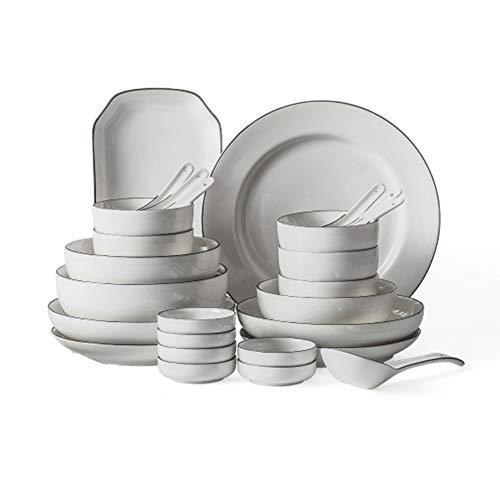 Bols Assiettes Set, vaisselle en céramique, 34 pièces de vaisselle, adapté pour le banquet familial, plats de cuisson au four