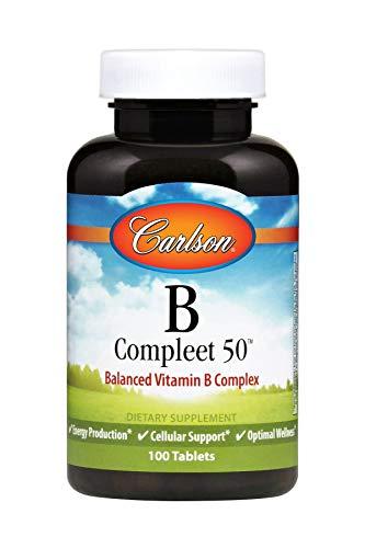 Carlson - B Compleet 50, Balanced Vitamin B Complex, Energy Production, Cellular Support & Optimal Wellness, 100 Tablets