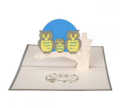 Eulen - 3D Karte/Pop-Up Karte/Grußkarte/Geburtstagskarte