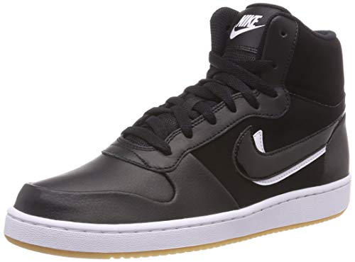 NIKE Ebernon Mid Prem, Zapatillas Altas para Hombre, Negro Black Black White Gum Light Brown 002, 45 EU