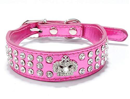 Haoyueer Rhinestone Dog Collar Crown Rhinestone Diamante Jewelry Crystal PU Leather Pet Dog Cat Puppy Collar(Hot Pink,M 26-32cm)