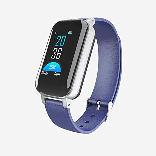 LLTG T89 TWS Smart Watch con Auriculares Bluetooth Touch Touch Touch Smart Watch IP67 Apoyo A Prueba De Agua Siri BT Llamada Música Música Aptitud Pulsera Inteligente Pulsera,Azul