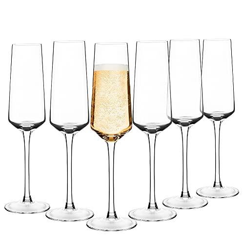 Hand Blown Crystal Champagne Flutes Champagne Glasses Set of 6 Elegant...