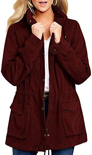 Imily Bela Giacca da donna per le mezze stagioni con cappuccio, giacca invernale Colore: rosso M