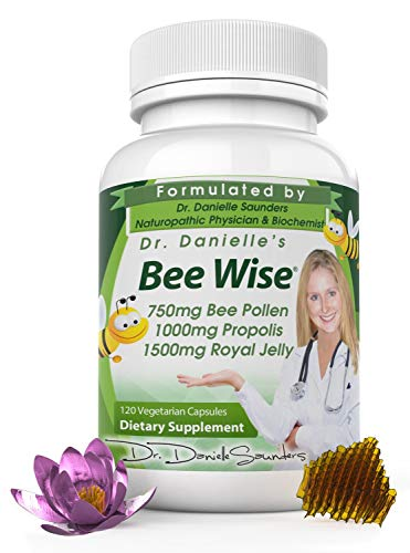 Dr. Danielle's Bee Wise Bee Pollen - Royal Jelly, Propolis, Beepollen in 4 Daily Capsules, Bee Well...