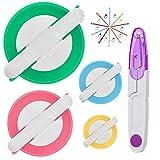 Pom Pom Maker, 4 Tamaños Fluff Ball Weaver Needle PomPom Maker Juegos-DIY Pompoms Artesanía Doll haciendo Kits Contiene 1 tijeras + 10 marcadores de punto de tejer + 10 agujas de plástico (25)