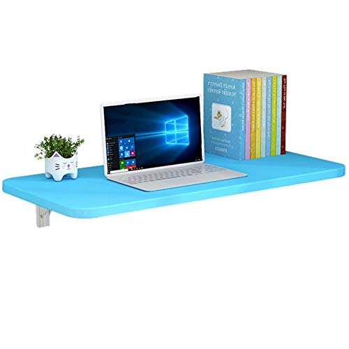 wzll Wall Folding Table, Wall-mounted Drop-leaf Table For Small Spaces, Computer Desk, Convertible Desk, 12 Sizes (Color : Blue, Size : 70 * 30cm)