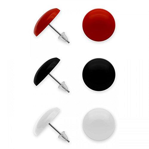 SoulCats® 3er Set runde Ohrstecker in schwarz, rot und weiß, aus Acryl mit Edelstahlstift, Ø ca. 14 mm