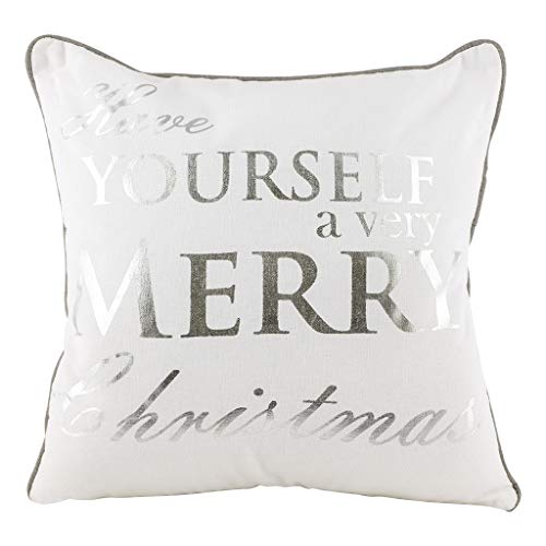 Dibor 100% Cotton Grey White Silver Text Festive Christmas Filled Throw Scatter Cushion
