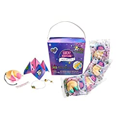 Each package contains a fortune cookie shaped bracelet holder with a surprise Lucky Fortune charm bracelet and matching paper fortune. This 4-pack includes 4 cookies and 4 bracelets. 4 levels of rarity: Lucky, Very Lucky, Very Very Lucky, and Ultra L...