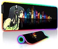 ゲーミングマウスパッド アニメガールズラージブラックRGBゲーミングマウスパッドロッキングエッジLEDバックライト付きゲーマーキーボードデスクマット23.6x11.8インチ