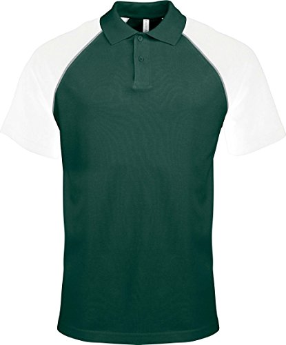 Kariban Polo Base Ball Manches Courtes - Forest Green/White, L, Homme