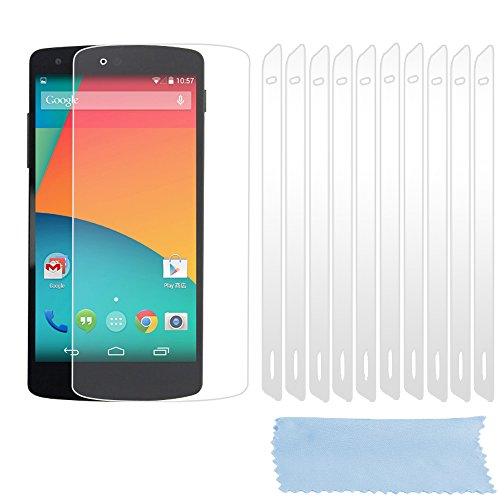 Cadorabo Pellicola per LG Google Nexus 5 Pellicola Protettiva Display in Alta TRASPARENZA - 10x Pezzi di Foglio per la Protezione dello Schermo - Film High Clear Trasparente AntiGraffio