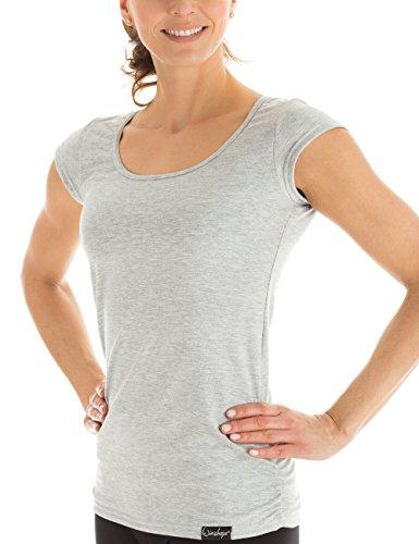 Winshape Damen Kurzarmshirt WTR4 Fitness Freizeit Yoga Pilates,Grau(Grey Melange),XL