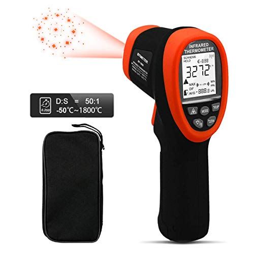 BTMETER BT-1800 Digital Laser Thermometer -58 °F to 3272°F Pyrometer DS 50:1 Infrared Thermometer, Non Contact IR High Temp Gun Tester with Backlit Flashlight Max/Min Temp Alarm for Kiln Forge