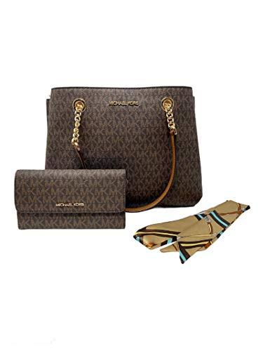 MICHAEL KORS Teagen Large Chain Strap Satchel Leather Shoulder Bag Bundled w/Wallet & Satin Scarf (Brown Signature)