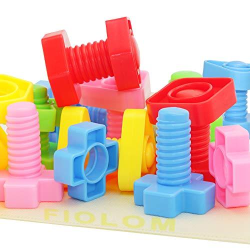 FIOLOM Nuts and Bolts Fine Motor Skills Montessori Toys Interlocking Building Blocks Learning STEM...