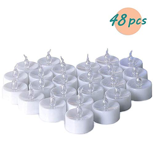 Teelichter batterie Flameless Kerzen inkl. Batterien CR2032, flammenlose LED Teelichter flackernd Kerzen mit Flackereffekt Warmweiß (48PCS)