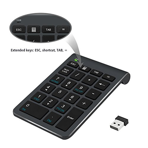 2.4G Number Pad, Alcey Wireless 22 Keys Multi-Function Numeric Keypad Keyboard with 2.4G Mini USB Receiver for Laptop/Desktop/PCs/Notebook, Cool Gray
