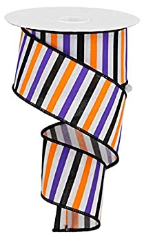 Orange Purple Lime Green Black Halloween Stripes Wired Ribbon  2.5 Inches X 10 Yards