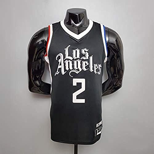 CLQ Ropa de Deporte-Leonardo Adult Men s # 2 Baloncesto Jersey Clippers Juego de Entrenamiento Jersey Negro Swingman Malla Transpirable Sudor Versión Bordada de Secado rápido (S-XXL)-XXL