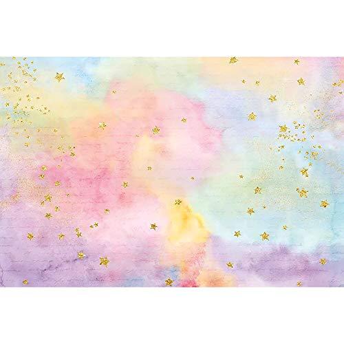 Fondo fotográfico artístico arcoíris Dorado centelleante Estrella pequeña soñadora Dulce niños cumpleaños telón de Fondo para Estudio fotográfico A15 10x7ft / 3x2,2 m