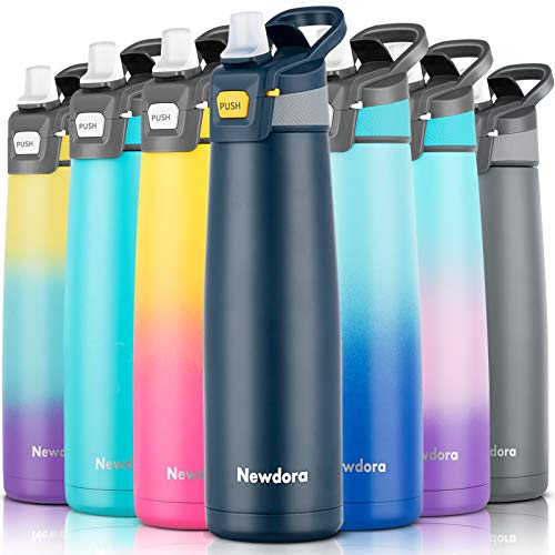 Newdora Vacuum Insulated Water Bottle with Flip Straw Double Walled Stainless Steel Sports Drinking Flask Leakproof Gym Bottle Ideal for Bike Running Hiking Yoga 24OZ 750ml(Dark Blue)