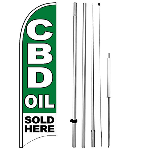 CBD Oil Sold HERE Windless Swooper Flag Kit 15' Feather Banner Sign gb-h