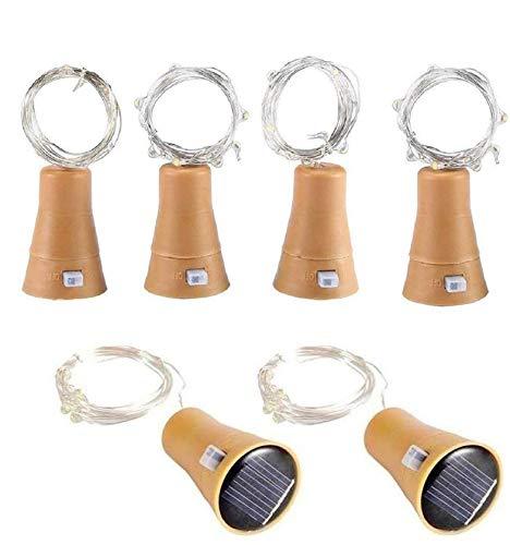 6pcs 10 LED de bouteille de vin de liège solaire en liège avec 1M de fer en cuivre en forme de lampe de bar pour bouteille bricolage, fête, décoration intérieure, mariage et Halloween (Blanc Froid)