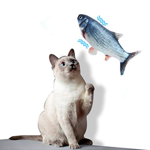Dioxide Simulación Realista de Felpa Pez Muñeca Eléctrica, Suministros Interactivos Divertidos para Masticar Mascotas Flop de Gato/Gatito/Gatito Gato de Juguete