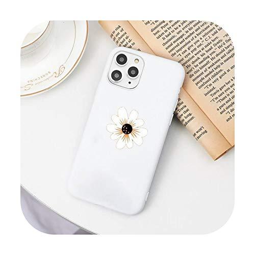 Funda para teléfono móvil con diseño de margaritas de dibujos animados color blanco para iPhone 11 Pro XS MAX 8 7 6 6S Plus X 5S SE 2020 XR-a6-7plus u 8plus