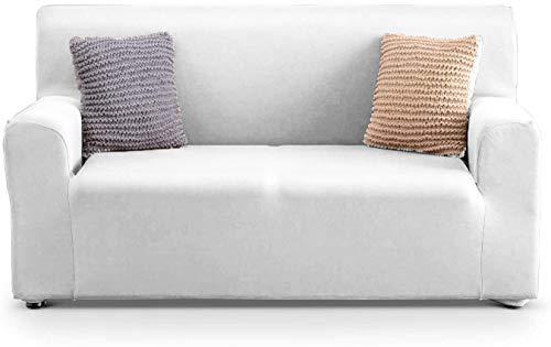 APLUS1 Funda para sofá antimanchas y antideslizante elástica de color liso (97% poliéster - 3% elastano) (blanco, 4 plazas)