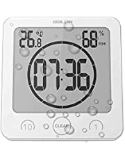 Soddyenergy LCD Reloj de Ducha Digital, Reloj de baño Reloj de Ducha Impermeable Reloj Temporizador Temperatura Humedad Pared Ducha Reloj Reloj Temporizador de Cocina (Blanca)