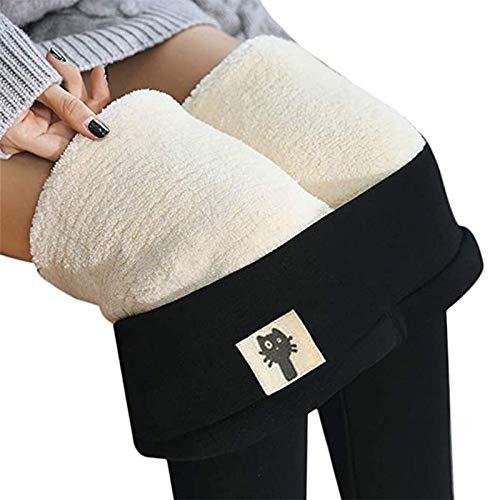 Frauen Super Dicke Kaschmir Leggings Hosen mit hoher Taille, Premium Fleece gefüttert Winter Plüsch Warmer Samt Elastisch Schlank Enge Leggings Hosen Für Frauen (Color : B, Size : M)