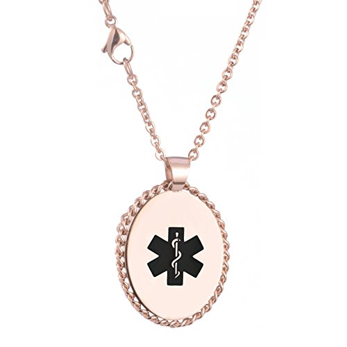 IMID Rose Gold Oval Medical ID Necklace for women with Free Engraving